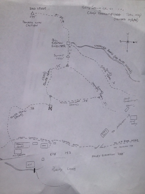 A hand drawn map of the trails