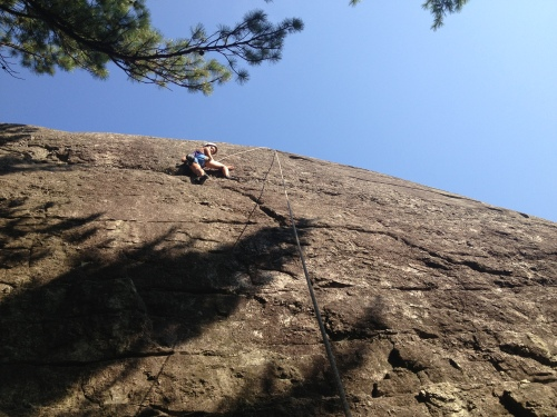 Our first top-rope after rappelling
