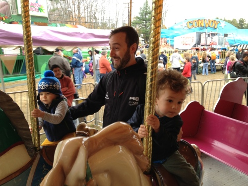 Alex riding with his buddy Rowan
