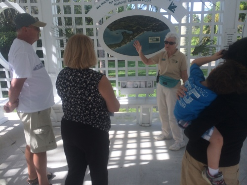 Our tour guide, Marilyn, gives us a brief orientation of where Spanish Point is, on the flank of Little Sarasota Bay